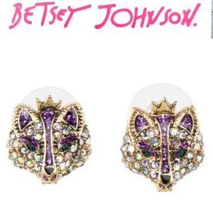 Betsey Johnson Princess Purple Fox Crown Earrings